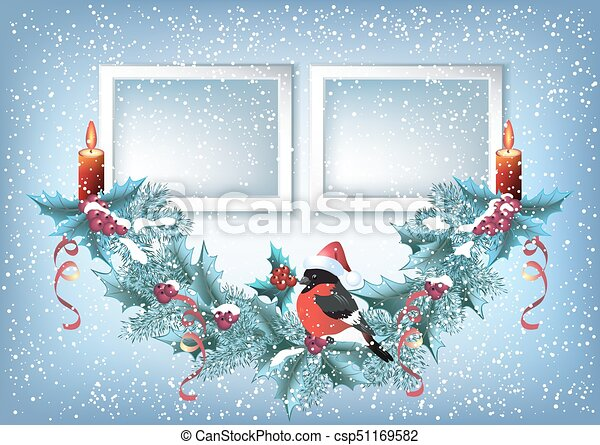 Christmas card with two photo frame, spruce garland with burning candle and bullfinch - csp51169582