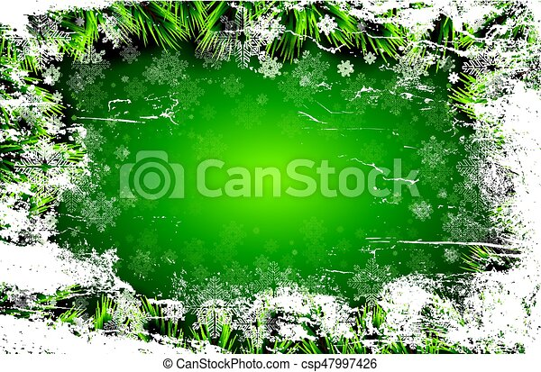 Christmas card with white snowflakes on green background. - csp47997426