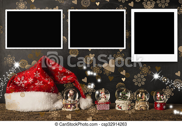 Christmas cards empty photo frames - csp32914263