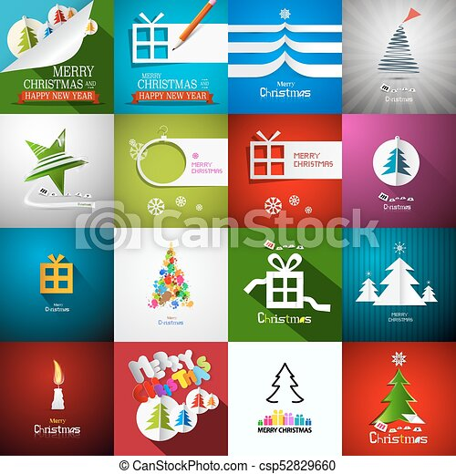Christmas Cards Set - Vector Paper Cut Xmas Greeting Card Collection - csp52829660