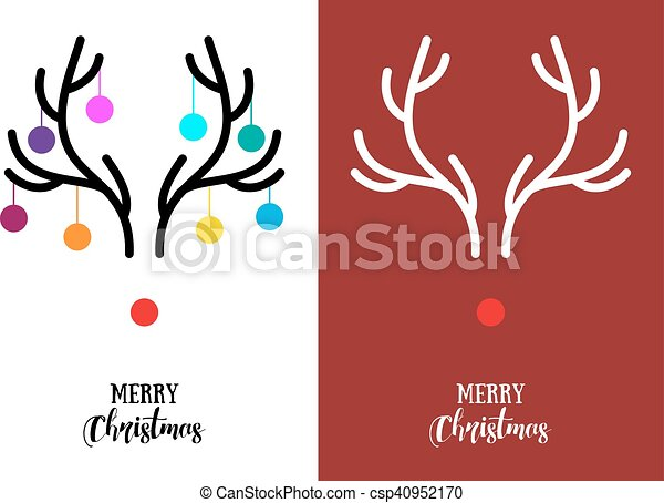 Reindeer Christmas Cards Drawings.Christmas Cards With Antlers Vector