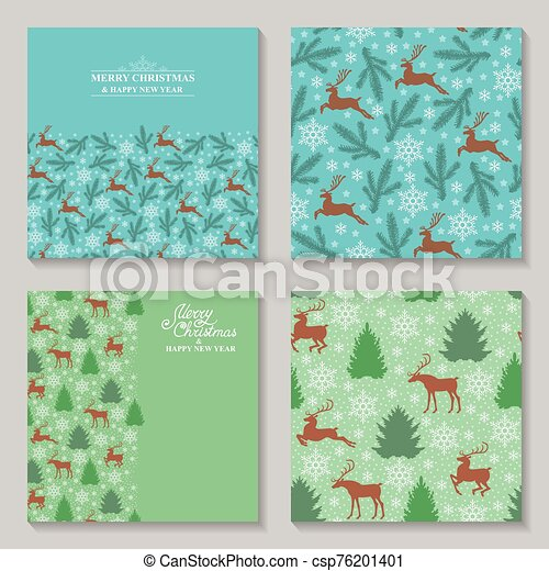 Christmas cards with deer, fir, pine and snowflakes set - csp76201401