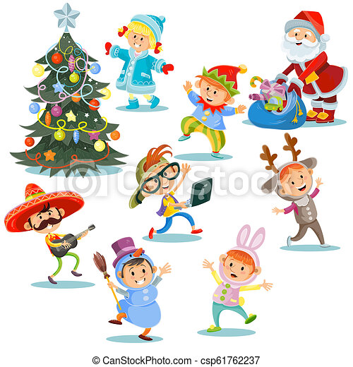 Christmas Carnival Party Cartoon Children In Costumes Santa Claus With Presents For Kids In Fancy Dresses Christmas Canstock While out in the forest, pluto tries to sniff one out and catches the attention of chip and dale , who toss one of their acorns at his rear end. can stock photo