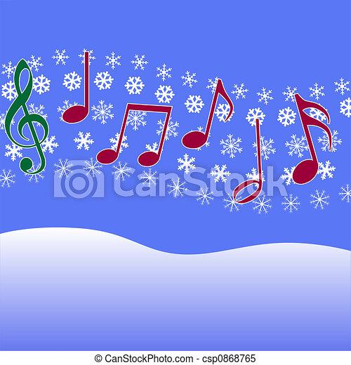 Christmas Carol Music Snowflakes - csp0868765
