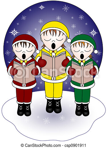 christmas carolers three christmas carolers singing in the snow rh canstockphoto com christmas caroling clipart black and white christmas carols clip art