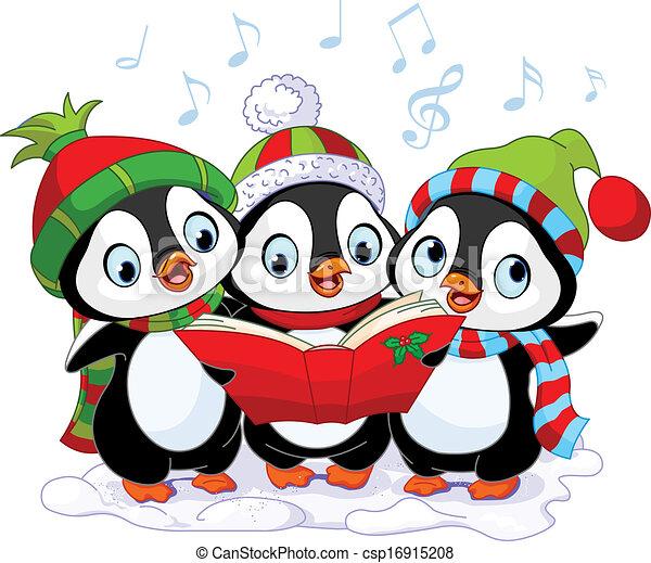 Christmas carolers penguins - csp16915208