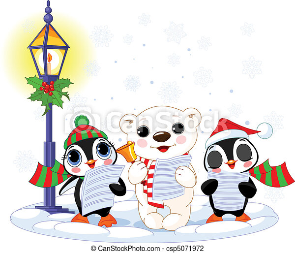 Christmas carolers %u2013  polar bear an - csp5071972