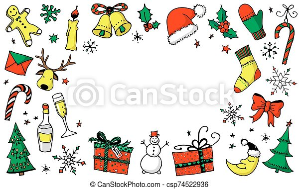 Christmas cartoon background with place for your text - csp74522936