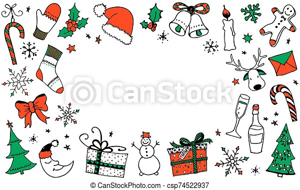 Christmas cartoon background with place for your text - csp74522937