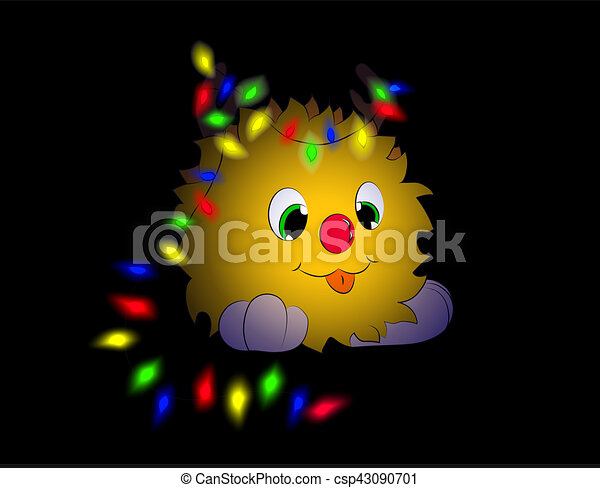 Christmas cartoon character tongue garland horns - csp43090701