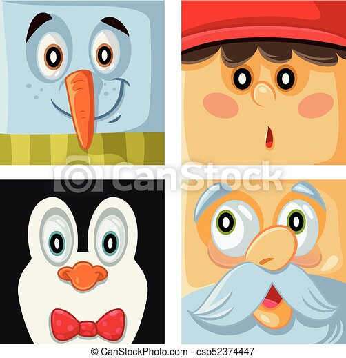 Christmas Cartoon Characters Vector Portrait Collection Funny Xmas