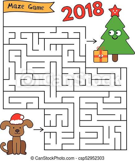 christmas cartoon dog maze game cartoon dog and christmas tree maze