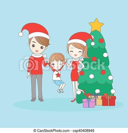 Mother Christmas Cartoon.Christmas Cartoon Family