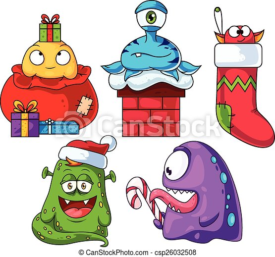 christmas cartoon monsters set 1 a set of cute christmas vector rh canstockphoto co uk christmas lights cartoon clipart christmas lights cartoon clipart