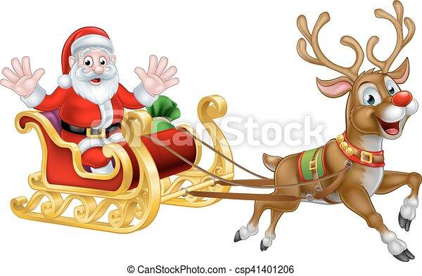 christmas cartoon santa and reindeer sleigh santa claus vector rh canstockphoto com christian cartoon clip art free christian cartoon clipart