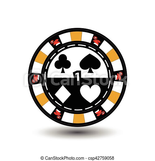 Christmas casino chips. Yellow. Santa cap on the sides and one in the middle number. Illustration vector. Use for the site, printing, paper, cloth, decoration, design, etc. EPS 10 - csp42759058