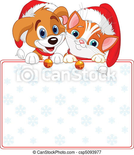Christmas Cat and dog sign - csp5093977