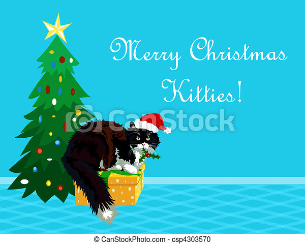 Christmas Theme Realistic Calico Cat With Mistletoe In Its Mouth Wishing A Merry  Christmas To All The Kitties. Funny Cartoon Making Perfect Greeting Card.