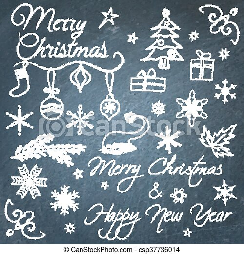 collection of hand drawn christmas chalkboard elements
