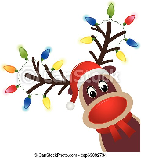 Christmas character Rudolph with light. Head of Happy reindeer with red nose - csp63082734