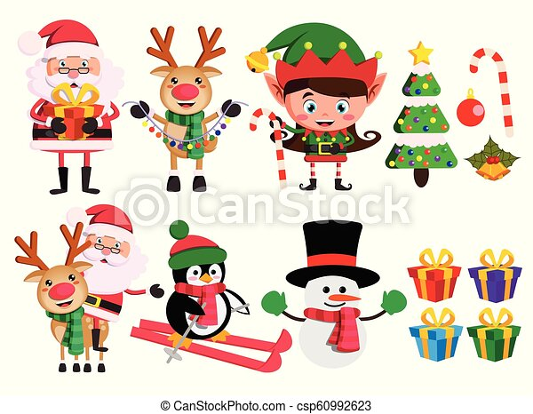 Christmas characters and elements vector set with santa claus, reindeer,  elf and snowman