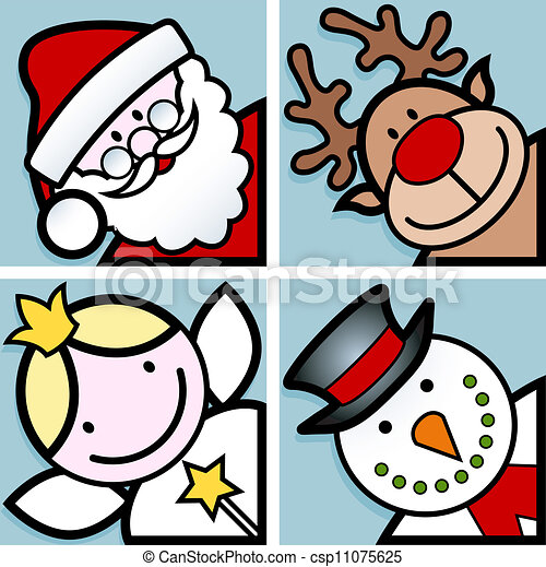Christmas Characters Set Of Four Happy Christmas Cartoon Character