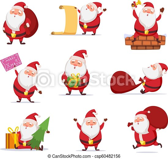 christmas characters of funny santa in dynamic poses vector mascot design in cartoon style christmas santa claus happy https www canstockphoto com christmas characters of funny santa in 60482156 html