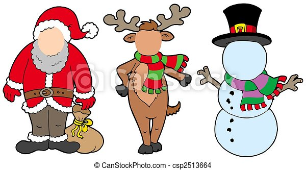 Line Drawing Santa Face : Christmas characters without face isolated illustration drawing