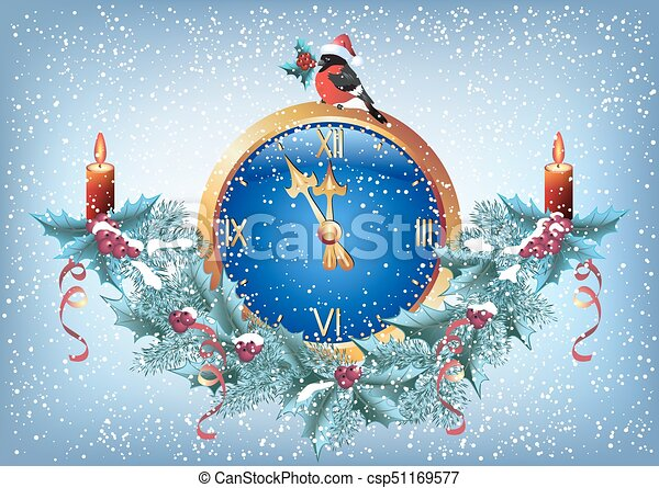 Christmas chimes with bullfinch in santa hat and decorative garland in retro style - csp51169577