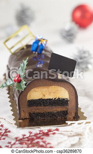 christmas chocolate yule log cake csp36289870 - Christmas Yule Log Cake