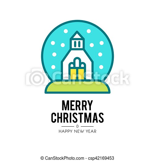 christmas church isolated icon - csp42169453