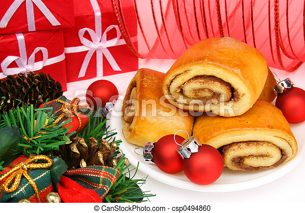 christmas cinnamon rolls and red ornaments traditional christmas morning breakfast