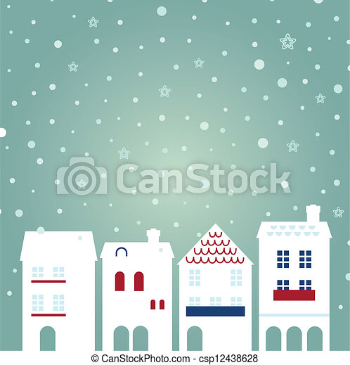 Christmas city on snowing background - csp12438628