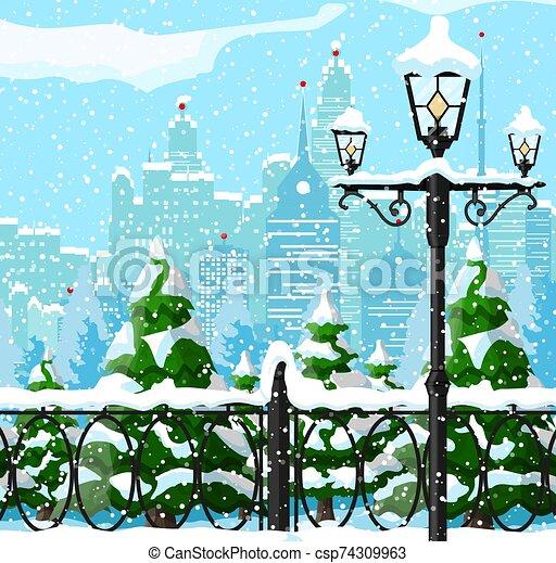 Christmas city winter landscape - csp74309963