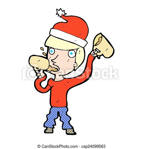 christmas coffee drinker man with cups drinking lots at clip art rh canstockphoto com Coffee Social Clip Art Coffee Mug Clip Art