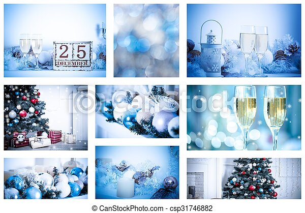 Christmas collage with photos of spruce, champagne and decorations - csp31746882