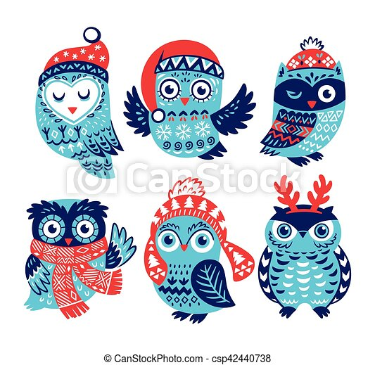 Christmas Collection With Cute Little Owls In Knitted Hats Hand