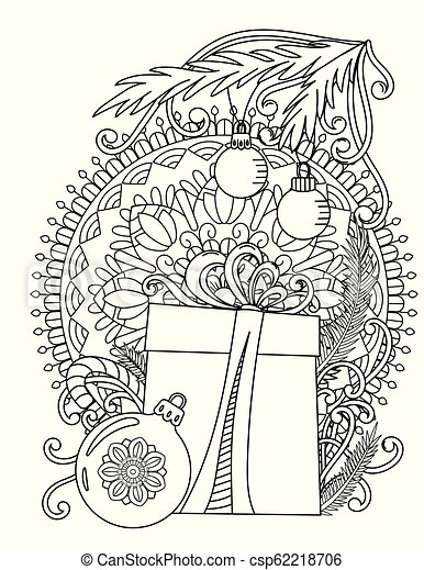 Christmas Coloring Page Christmas Mandala Coloring Page Adult Coloring Book Holiday Gift Balls And Ribbons Hand Drawn