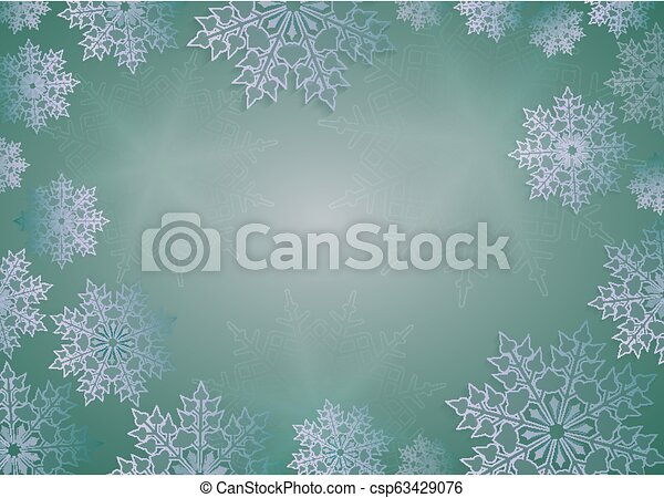 Christmas composition in bright green with beautiful white snowflakes. - csp63429076