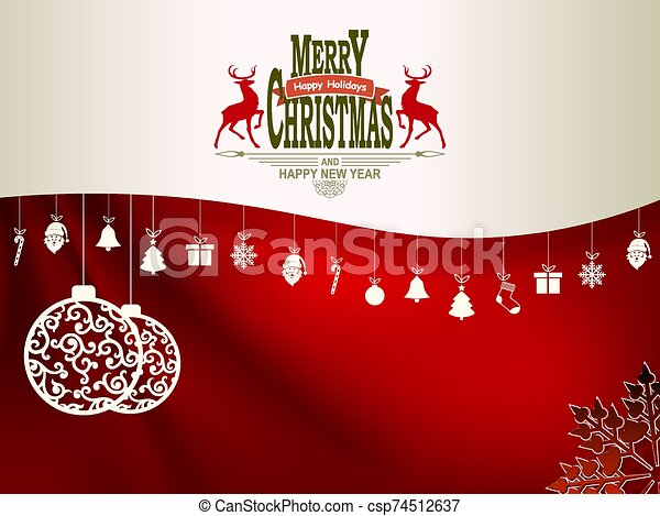 Christmas composition in dark red and white with pendants - csp74512637