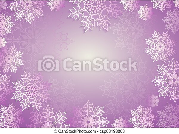 Christmas composition in light purple hue with beautiful white snowflakes - csp63193803