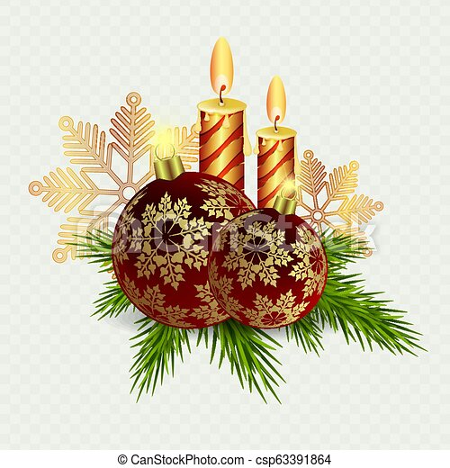 Christmas composition of candles and Christmas balls with snowflakes and Christmas tree twigs. - csp63391864