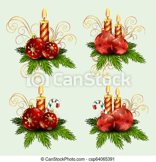 Christmas composition of fir green branches, burning candles and balls with snowflakes and staff, design element. - csp64065391