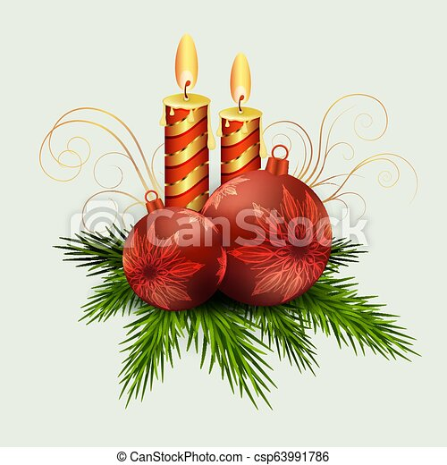 Christmas composition of fir green branches, burning candles, balls with snowflakes - csp63991786
