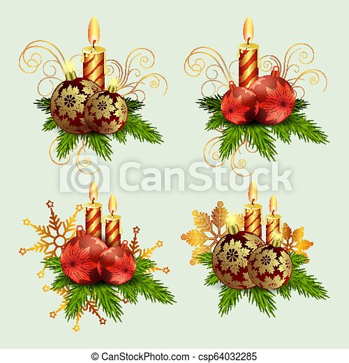 Christmas composition of fir green branches, burning candles and balls with snowflakes, set. - csp64032285