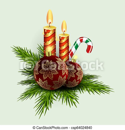 Christmas composition of green spruce branches, candles, staff and burgundy balls with golden snowflakes - csp64024840
