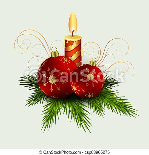 Christmas composition of green spruce branches, a burning candle, balls with snowflakes, - csp63965275
