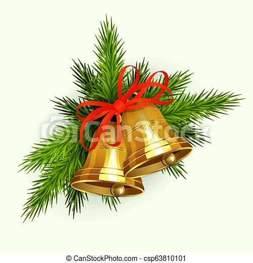 Christmas composition of green spruce branches, golden bells with red ribbon. - csp63810101