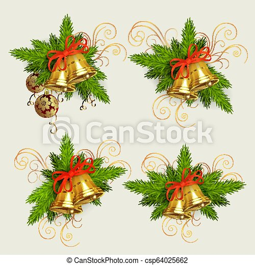 Christmas composition of spruce green branches, golden bells and burgundy balls with golden snowflakes, design element. - csp64025662