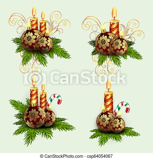 Christmas composition of spruce green branches, burning candles and balls with golden snowflakes with a staff, set, - csp64054067
